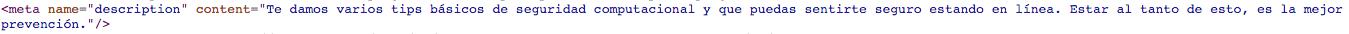 Ejemplo de Meta tag para algoritmos de Google
